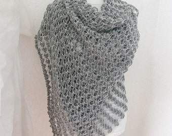 Scarf, Wrap, Shawl,  Shawl in  Silver, Gray, Crochet Shawl, Rectiangle Shawl, Wedding Shawl, Bridal, Bride, Bridesmaid