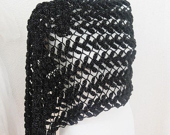Crocheted Scarf for women, Shawl, Crochet Scarf,  Neckwarmer,  in  Black, Silver, Bridal, Bridesmaid, Wedding Shawl, Evening gown