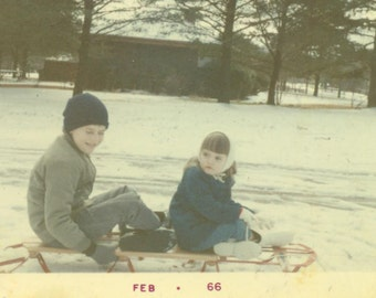 Sledding in the Snow Brother Sister Sled SC 1966 Vintage Color Photo Photograph