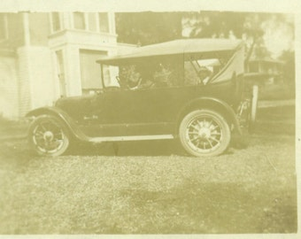 1920s RPPC Showing Off the New Car Driver Passenger Real Photo Postcard Vintage Black White Photo Photograph