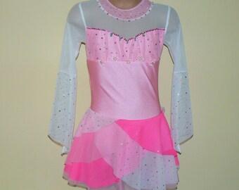 Pink Figure Skating Dress. Toddlers Girls Figure Skating Dress. Dancewear. Princess Figure Skating Dress. SIZES 2T - Girls 12