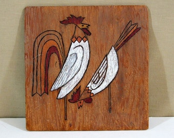 Vintage Folk Art Painting on Wood, Primitive Chickens, Rooster