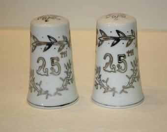 Lefton 25th Silver Wedding Anniversary Salt and Pepper Shakers