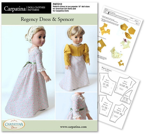 Regency Dress And Spencer Doll Clothes Pattern As Downloadable