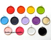 "100 pcs 1"" Flat Bottle Cap Double Sided Painted Colors Charms You Choose Colors"