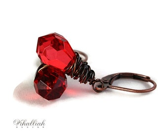 Red tear drop and antique copper leverback earrings (214) - Flat rate shipping