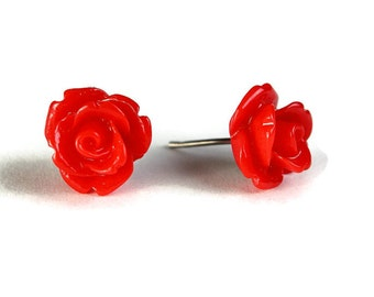 Red ruby garnet rosebud surgical steel hypoallergenic stud earrings (344) - Flat rate shipping
