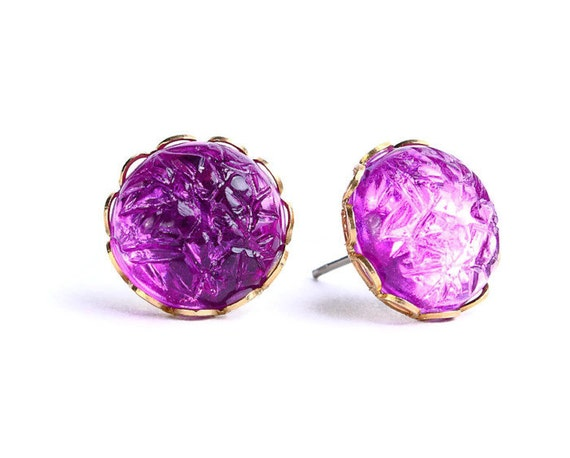Sale Clearance 20% OFF - Purple plum baroque jewel hypoallergenic surgical steel post earrings READY to ship (430)
