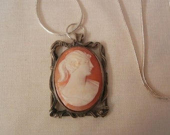Lovely sterling shell cameo portrait Necklace