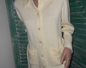 Cream Colored, Button-Up, 70's Belted Sweater w/Pockets, Size-M/L