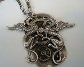 Steampunk Dragon Time Necklace, Custom Original Design, Handmade, Silver Ox Metals, Choice of Chain Length, USA, Ready to Ship, Gift Boxed