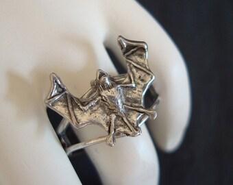 Bat Vampire Ring, Custom Handmade, Adjustable Sizing, USA, Metal Bonded, NOT Glued