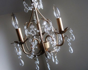 Perfectly Petite Vintage Inspired Antiqued Gold Chandelier MADE TO ORDER