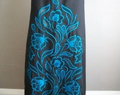 60s black and blue FLORAL EMBROIDERED Maxi skirt size large