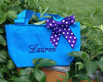 Monogrammed Turquoise Blue Insulated Lunch Bag Box Cooler Personalized Womens