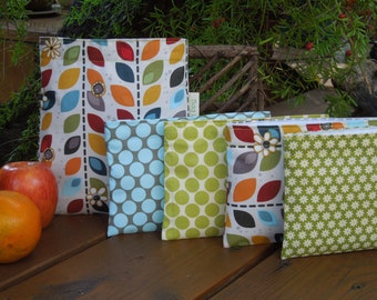 Reusable sandwich and/or snack bag - Autumn leaves and several options for the snack bag
