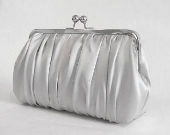 Ruched Silver Carmeuse Clutch,Bridal Accessories, Bridal Clutch, Bridesmaid Clutch, Bridesmaid gift, Formal