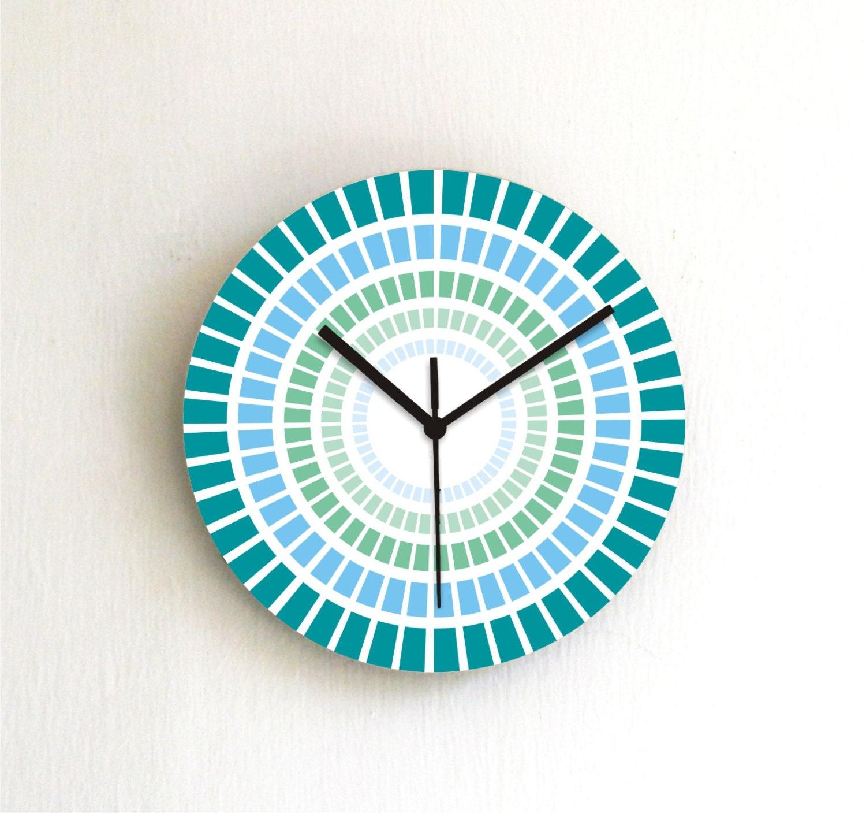 blue wall clock teal denim kitchen clock geometric round wall