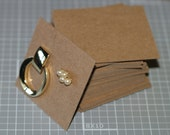 """Earring Cards (25) ... 2.5"""" x 2.5"""" Post Earrings Medium Weight Kraft Chipboard Recycled Rustic Eco Friendly Seller Supplies Product Display"""