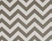 Pair (two 50W panels) designer drapes, ZigZag chevron storm grey cotton