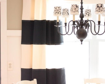 Pair (two 50W panels) Color block linen curtain panels with ribbon, rod pocket drapes black, off white