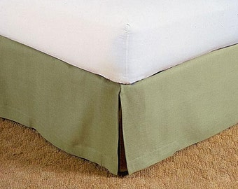 Custom made linen bedskirt, SAGE GREEN bed skirt tailored box pleats or choose your own color
