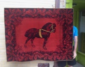 Antique Burgundy Wool Carriage / Buggy Blanket / Lap Robe with Horse us as wall hanging