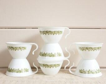 Vintage Corelle Crazy Daisy Teacups, Set of 7