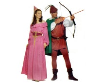 Robin Hood and Maid Marian Couples Costumes Pattern Peasant Blouse Skirt Mens Leggings Cape Hat Butterick 5749 Size XS SM MD Vintage Pattern