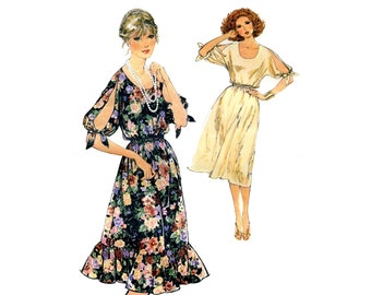 1970s Split Sleeve Dress Pattern Romantic Blouson Dress Simplicity 8586 Bust 34 Vintage Sewing Pattern  Pullover Plus Size Kimono Sleeves