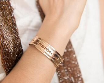 Love jewelry, Rose Gold cuff, Rose gold jewelry, Rose gold bracelet, Love, cuff bracelet, modern jewelry, multilingual