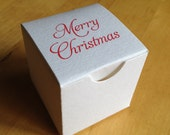 Custom Printed Mini Favor Box - White - Holiday