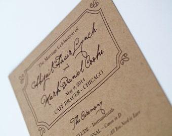 Wedding Program, Kraft Paper Frame Design