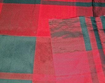 Vintage Plaid Silk - Red & Black - 5 1/2 Yards