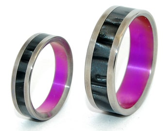 wedding rings, titanium rings, wood rings, mens rings, womens ring, Titanium Wedding Bands, Eco-Friendly Rings - PINK ROXY Set