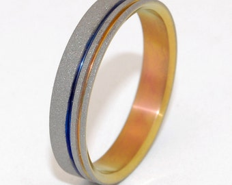 mens ring, titanium ring, sunset, titanium wedding ring, wedding band, men's ring, women's ring, something blue - ONE BLUE BOLT