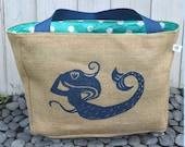 Handmade Mermaid Burlap Market Tote Bag