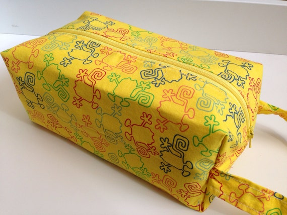 Toiletry / Travel  Bag - Yellow Squiggly