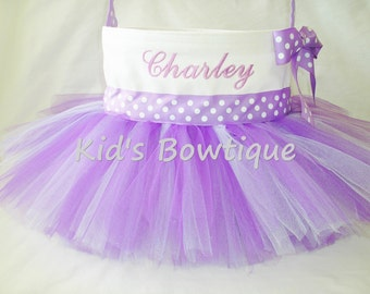 Monogrammed Easter Basket Tutu Bag- Personalized Purple Easter Basket Tutu Tote - Flower Girl Tutu