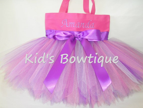 Monogrammed Tutu Tote Bag - Pink and Purple Fairy with Bow Personalized Tutu Bag