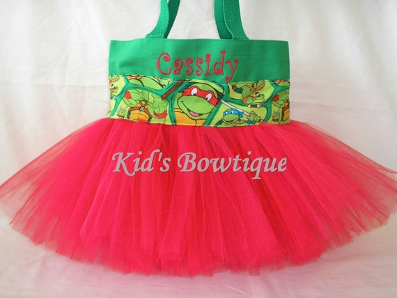 Halloween Tutu Bag for a TMNT- Personalized Turtle Halloween Trick or Treat Bag
