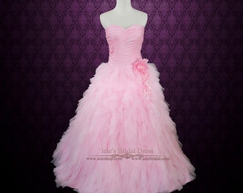 Pink Wedding Dress Pink Prom Dress Pink Princess Ball Gown with Ruffles