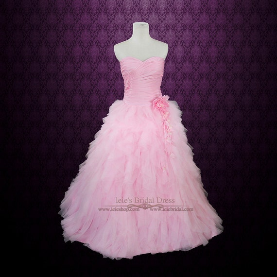 Pink Wedding Dresses Princess : Pink wedding dress prom princess ball gown with