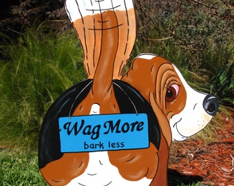 """Made to Order Hand Painted Basset Hound Yard Art - """"Wag More, bark less"""""""