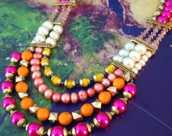 ON SALE Meet me at Sunset Beaded Multilayer Pearl Statement Necklace in Fuchsia, Orange, Yellow, White, Gold