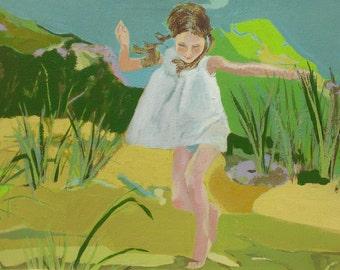 Girl Running - Fine Art Print, Beach, Seashore, Child, Wall Art, Home Decor, Summer, Child, Gift