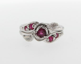 Silver Tea Rose Wedding Set, Silver & Ruby