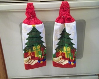 Towel - Kitchen Towel with Crochet Towel Topper - Kitchen Towel Christmas Tree