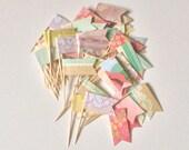 12 Shabby Chic Cupcake Flags