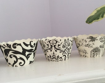 Vintage Ivory and Black Cupcake Wrappers - Damask Black White Assorted Prints SALE